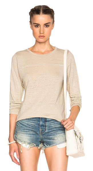 NSF Louie tee in neutrals - 97% linen 3% spandex.  Made in USA.  Raw cut edges.