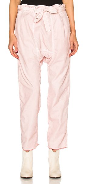 NSF Mayor Pants in pigment ballet pink - 100% cotton. Made in USA. Machine wash. Belted waist....