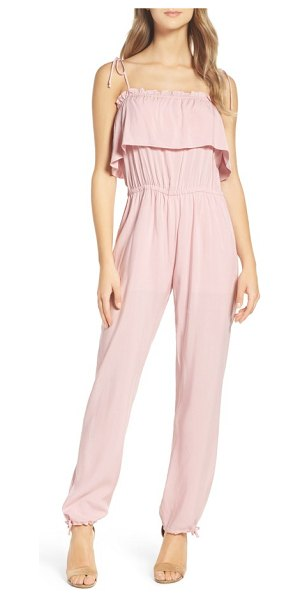 NSR ruffle jumpsuit in rose - A simple and summery jumpsuit flatters with a ruffled...