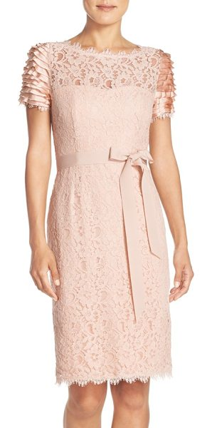 Nue by Shani belted lace sheath dress in blush - Figure-perfecting shapewear is built right into this...