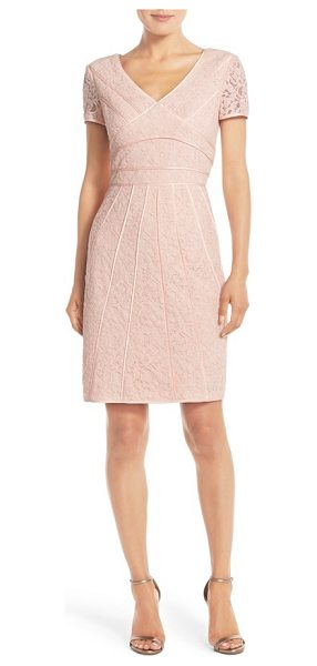 Nue by Shani caged lace sheath dress in blush - Caged banding puts an edgy spin on a lace sheath dress...