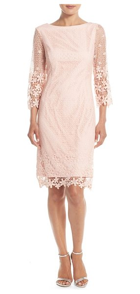 Nue by Shani crochet sheath dress in blush - Splendid floral crochet overlays a summery sheath dress...