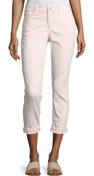 "NYDJ Alina Convertible Roll-Cuff Cropped Jeans in light pink - NYDJ ""Alina"" stretch-denim jeans. Approx. measurements:..."