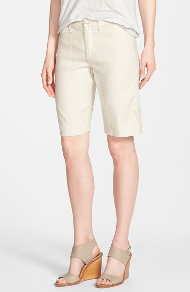 NYDJ catherine linen blend bermuda shorts in sand dollar - A lightweight linen blend infused with stretch lends...