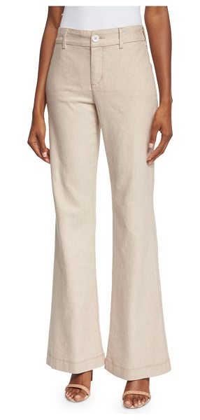 NYDJ Claire Textured Linen Twill Pants in natural - NYDJ textured linen twill pants. High rise. Side slit...