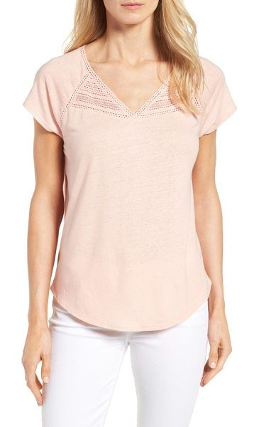 NYDJ lace trim linen blend tee in bright apricot - A bit of lacy trim at the V-neck and raglan seams dolls...