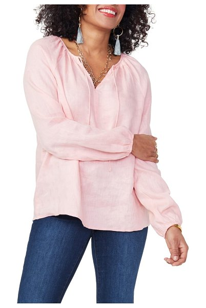 NYDJ linen peasant blouse in coral