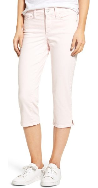 NYDJ marilyn stretch cotton crop pants in pink chiffon - Slim, straight legs with slit cropped hems define the...