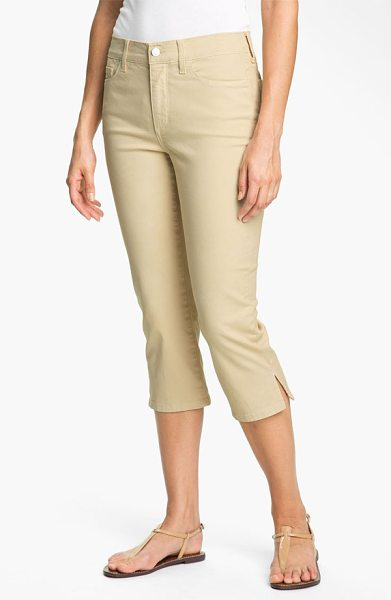 NYDJ nanette stretch crop jeans in pumice - Cropped hems with side slits lend a playful attitude to...