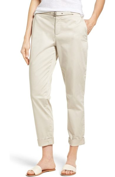 NYDJ roll cuff ankle pants in clay - Rolled hems keep them casual while a soft belt adds a...
