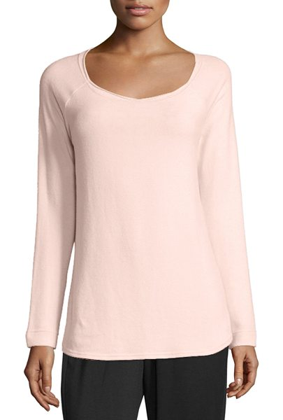 "NYDJ Sarah Long-Sleeve Cozy Sweatshirt in powder - NYDJ ""Sarah"" stretch-knit sweatshirt. Approx. length:..."