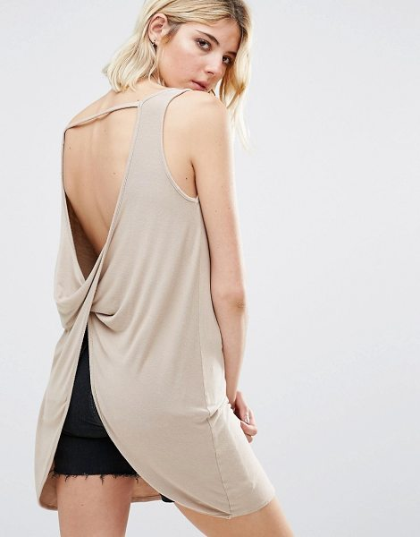 NYTT Clarinda Twist Open Back Tunic Top in pink - Top by NYTT, Smooth stretch knit, Scoop neck, Open back,...