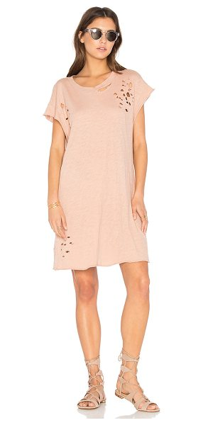 NYTT Distressed Shirt Dress in blush - Cotton blend. Hand wash cold. Unlined. Distressed areas...