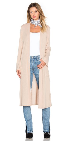 NYTT Longline cardigan in beige - Poly blend. Open front. Front patch pockets. NYTR-WK3....