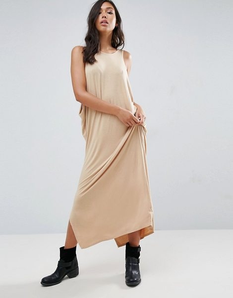 "NYTT Low Side Drapey Maxi Dress in pink - """"Maxi dress by NYTT, Super soft-touch jersey, Round..."
