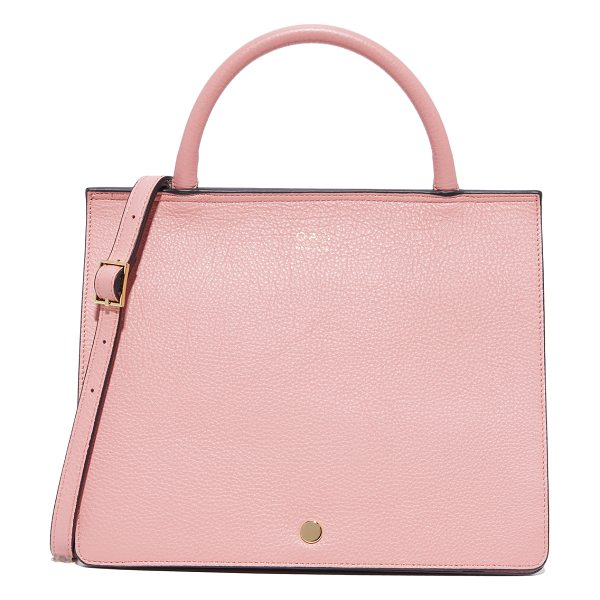 OAD prism satchel in rose pink - A pebbled-leather OAD satchel with a tapered silhouette....