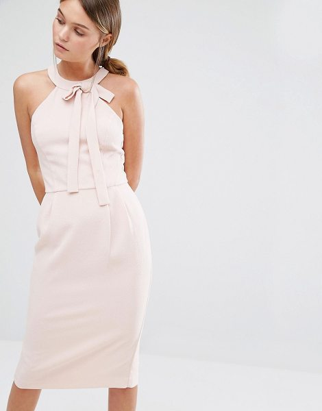 OASIS Bow Detail Pencil Midi Dress - Pencil dress by Oasis, Woven fabric, Round neckline, Bow...