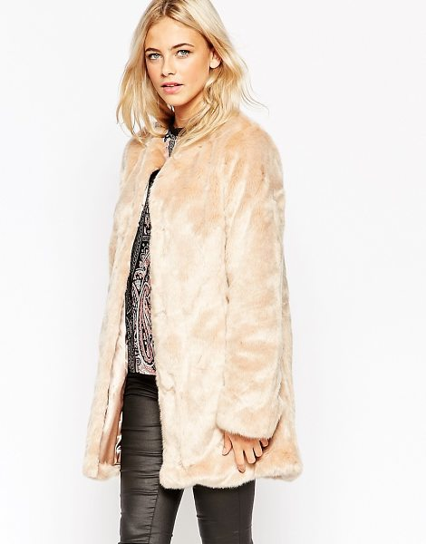 OASIS Collarless Faux Fur Jacket - Jacket by Oasis, Fluffy faux-fur, Silky-feel lining,...