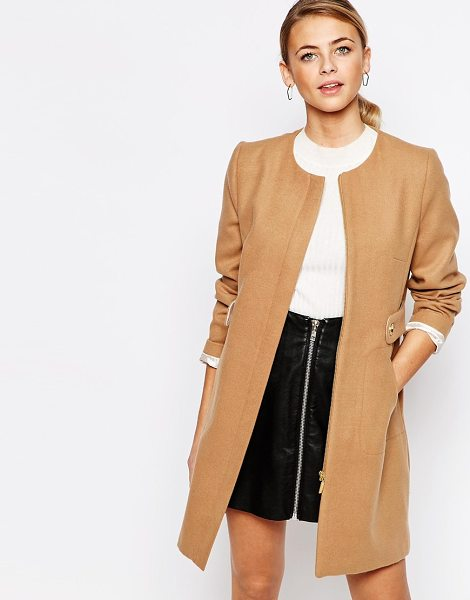 Oasis Collarless tab detail coat in camel - Coat by Oasis Woven fabric Collarless design Functioning...