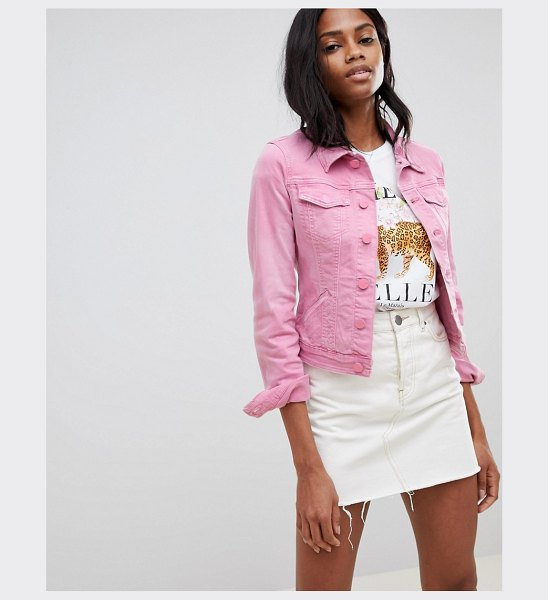 Oasis cropped denim jacket in pink in pink - Denim jacket by Oasis, Spread collar, Button placket,...