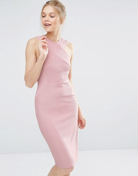 "Oasis Cross Front Bodycon Dress in pink - """"Bodycon dress by Oasis, Ribbed knitted fabric, High..."