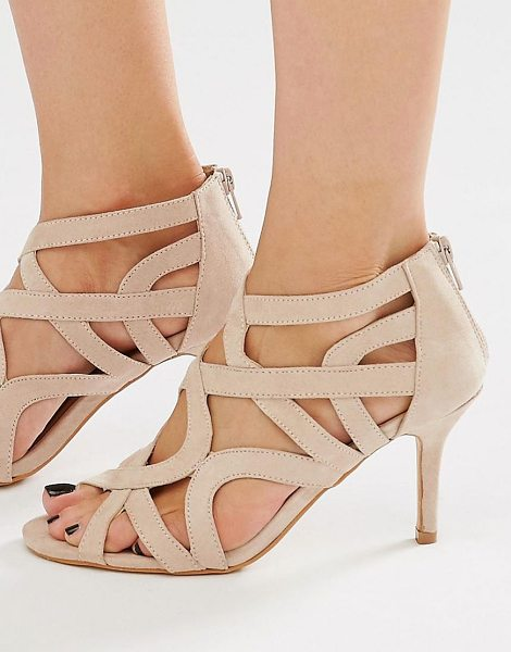 Oasis Cut Out Heeled Sandals in beige - Sandals by Oasis, Faux suede upper, Cross strap design,...