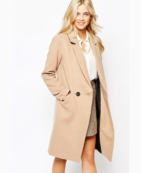 Oasis Double Breasted Car Coat in beige - Coat by Oasis, Woven fabric, V-neckline, Notch lapel...