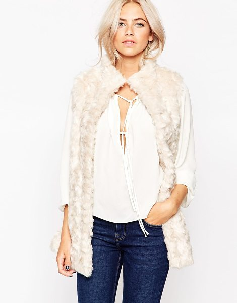 Oasis Faux fur vest in cream - Coat by Oasis Fluffy, textured fabric Soft-touch finish...