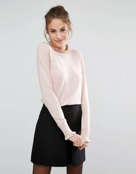Oasis Frill Neck Sweater in pink - Sweater by Oasis, Lightweight knit, Soft-touch finish,...