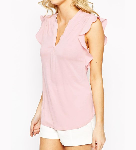 Oasis Frill sleeve blouse in nude - Blouse by Oasis Semi sheer, soft-touch jersey V-neckline...