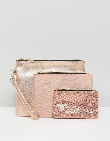 Oasis Glitter And Metallic Pouches in gold - Pouches set by Oasis, Pack of three, Stock up, Glitter...
