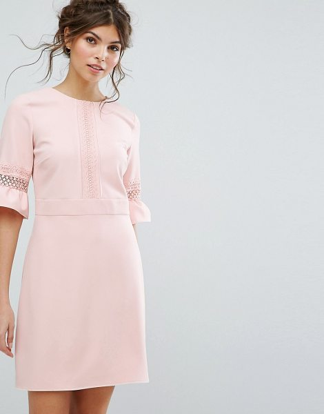 "Oasis Lace Fluted Sleeve Shift Dress in pink - """"Dress by Oasis, Stretch woven fabric, Round neck,..."
