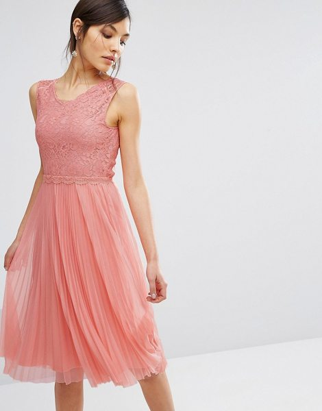 """Oasis Lace Pleated Midi Dress in pink - """"""""Midi dress by Oasis, Lined lace bodice, V-neck, Lined..."""