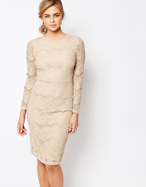 Oasis Lace Shift Dress in gold - Lace dress by Oasis, Lined lace, Round neckline, Empire...