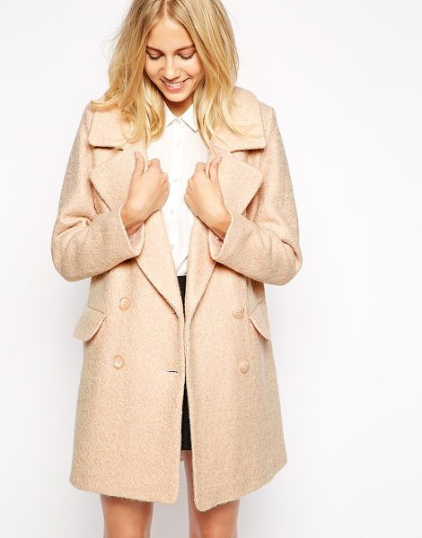Oasis Large collar coat in pink - Coat by Oasis Lined, wool blend Oversized, notch lapels...