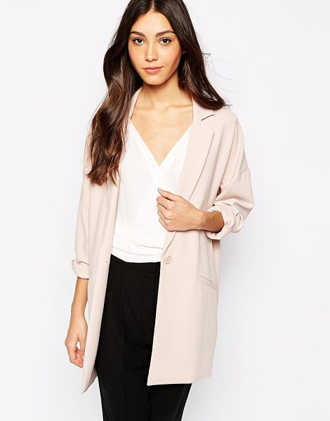 Oasis Longline soft blazer in neutral - Blazer by Oasis Woven fabric Long, notch lapels Single...