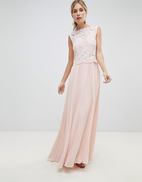 Oasis occasion lace bodice pleated maxi dress in blush