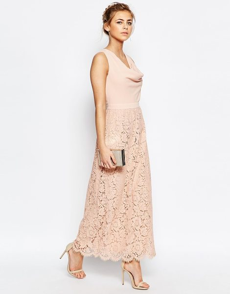 "Oasis premium lace cowl neck maxi dress in nude - """"Maxi dress by Oasis, Woven fabric bodice, Lined lace..."
