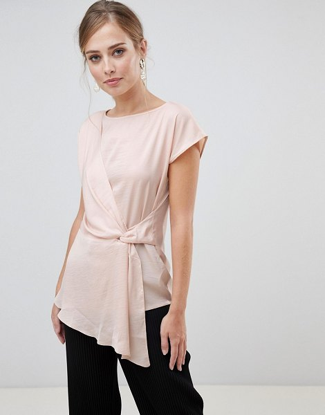 Oasis satin drape front top in pink in pink - Top by Oasis, Round neck, Crossover front, That s a...