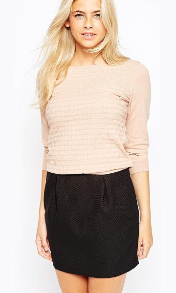 OASIS Stitch detail fine knit sweater in camel - Sweater by Oasis Lightweight fabric Boat neckline Stitch...