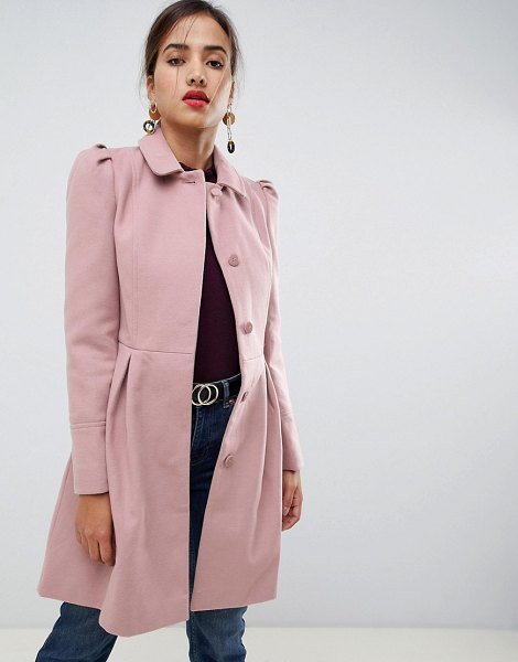 Oasis swing coat in pink in pink - Coat by Oasis, Cute, right? Spread collar, Puff...