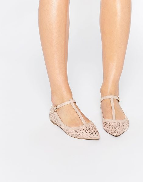 Oasis T bar point sparkle flat shoe in pink - Flat shoes by Oasis, All-over rhinestone embellishment,...