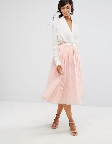 Oasis Tulle Midi Skirt in pink