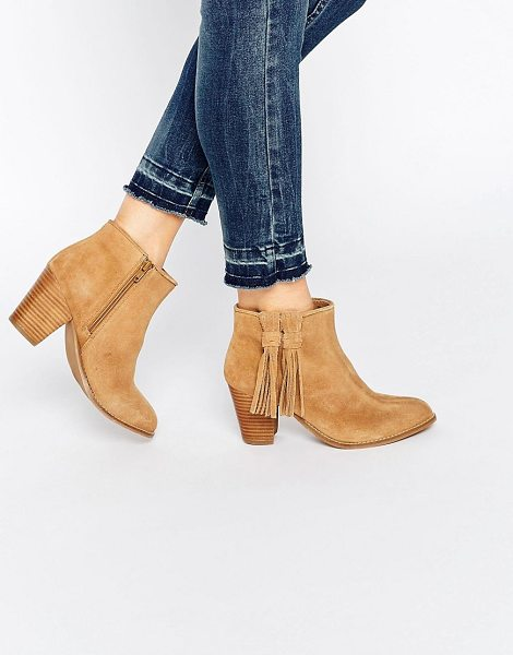 Oasis Western block heeled ankle boot in beige - Shoes by Oasis, Real suede upper, Almond toe, Stacked...