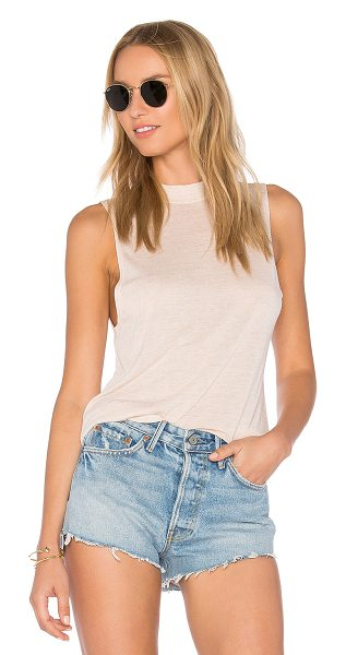Obey Alex Tank in tender peach - 85% rayon 15% linen. Hand wash cold. Burnout fabric....