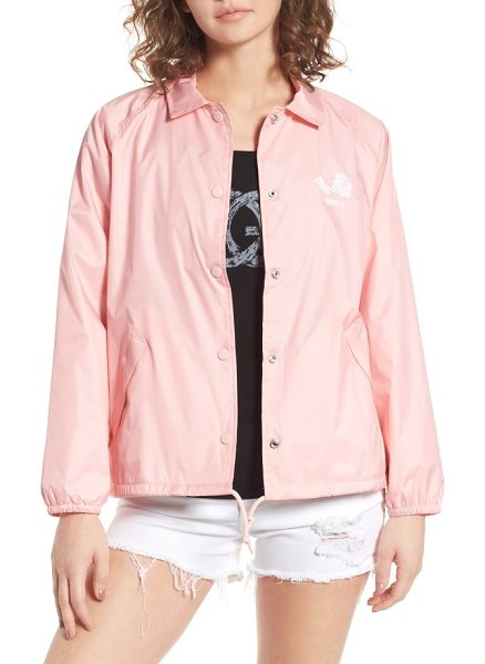 Obey caviar coach's jacket in pink - Call the shots in this nylon coach's jacket classically...