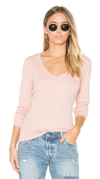 Obey Courtney Long Sleeve V in rose - 65% poly 35% rayon. Rib knit fabric. OBEY-WS352....