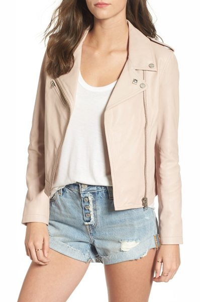 Obey diablo city leather moto jacket in rose - The investment piece you've been waiting for-this...