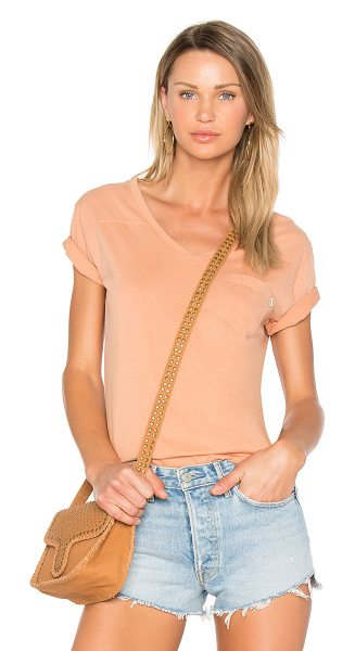 Obey Flipside V Neck Tee in dusty coral - 100% cotton. Slub knit fabric. Chest patch pocket....