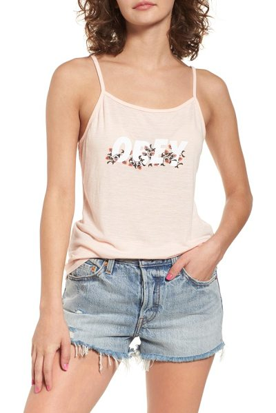 Obey overgrown graphic tank in pink - A garden of flowers grows around the Obey logo that...